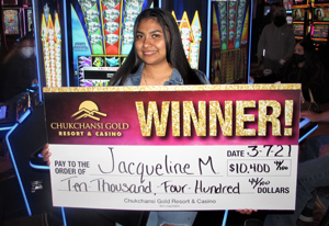 $10,400 winner Jacqueline M from Madera